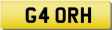 RH 4 ORH 40 FORTY INITIALS Private CHERISHED Registration Number Plate